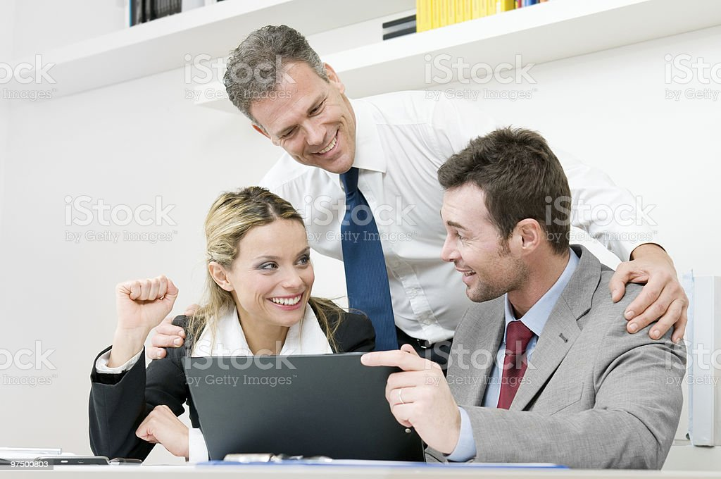 Happy business team celebrate royalty-free stock photo