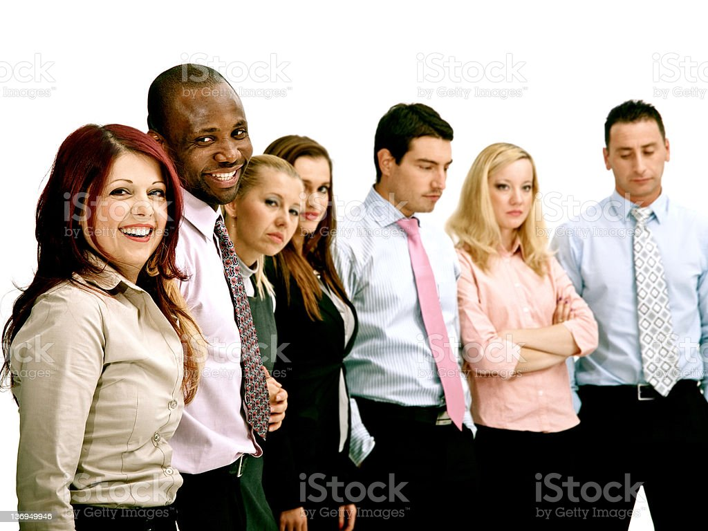 Happy business team in a row royalty-free stock photo