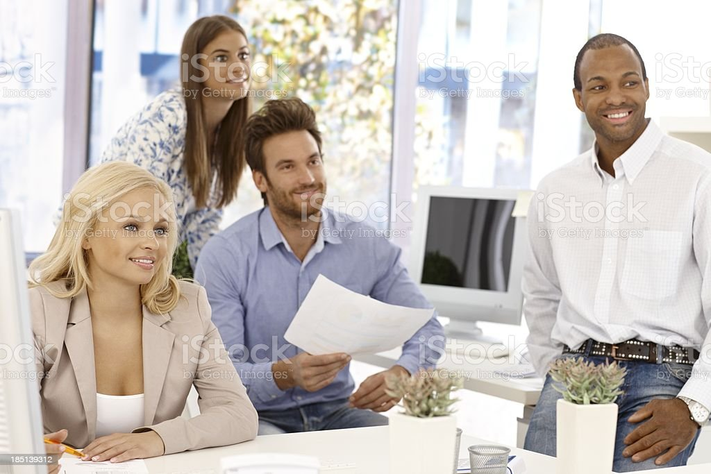 Happy business team working royalty-free stock photo