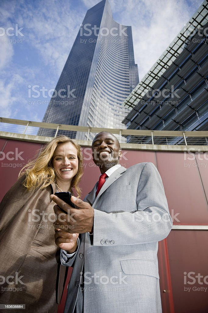 Happy Business with Mobile Phone royalty-free stock photo