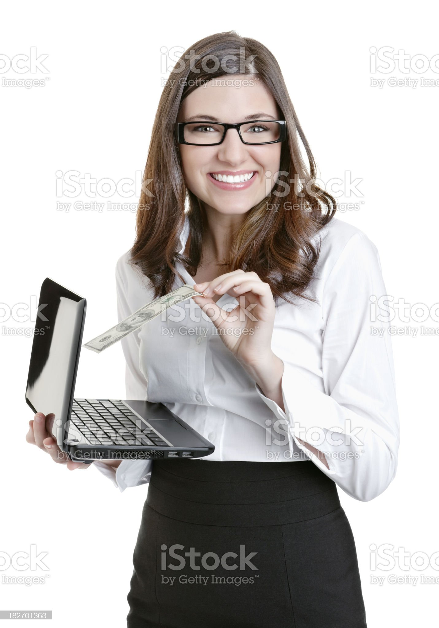 Happy business woman holding laptop and paper currency on white royalty-free stock photo
