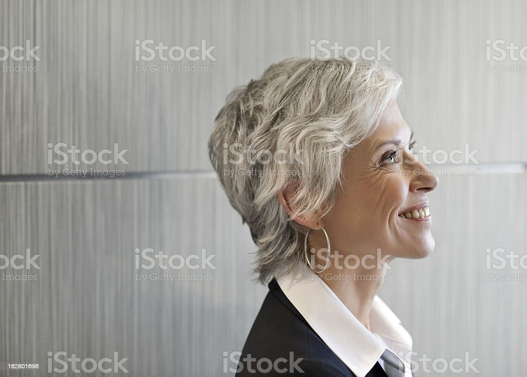 Happy business woman looking to the future royalty-free stock photo