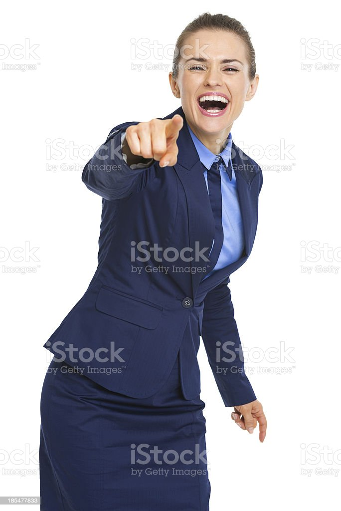 Happy business woman pointing in camera royalty-free stock photo