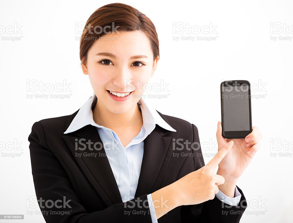 happy Business Woman Showing mobile smart phone stock photo