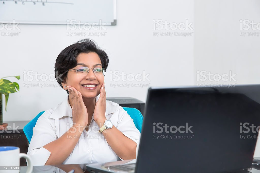 Happy business woman Surprised with some Good News stock photo