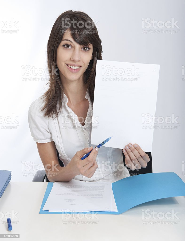 Happy business woman with your message stock photo