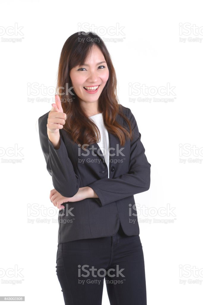 Happy business women pointing foward at white copy space, isolated on white background. stock photo