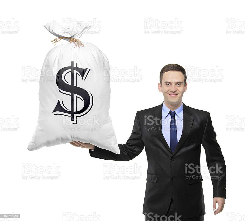 Happy businessman holding a bag with US dollar sign royalty-free stock photo