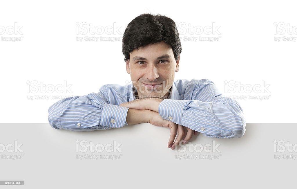Happy Businessman Holding Blank Billboard royalty-free stock photo