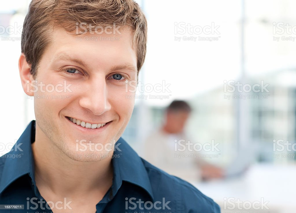 Happy businessman in his office royalty-free stock photo