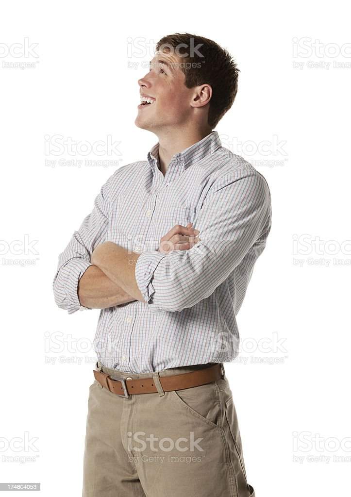 Happy businessman looking away royalty-free stock photo