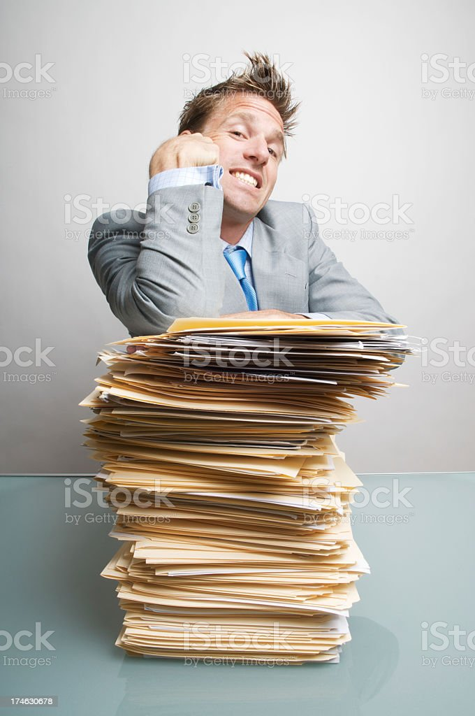 Happy Businessman Office Worker Looking Satisfied at Inbox royalty-free stock photo