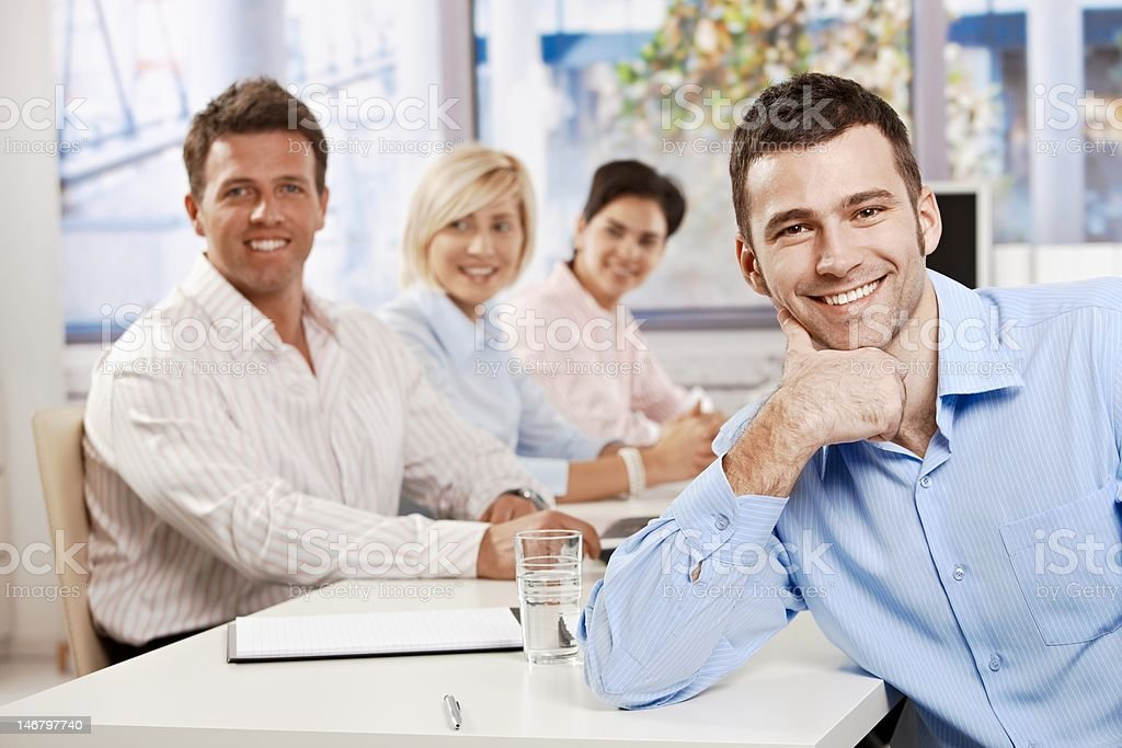 Happy businessman on meeting royalty-free stock photo