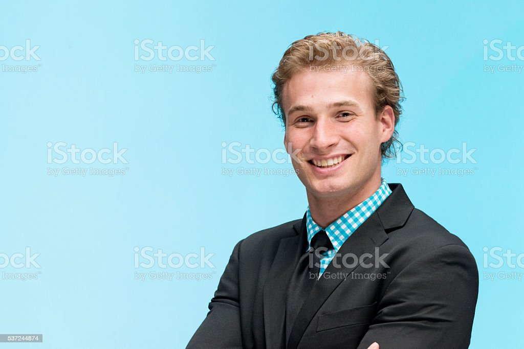 Happy businessman stock photo