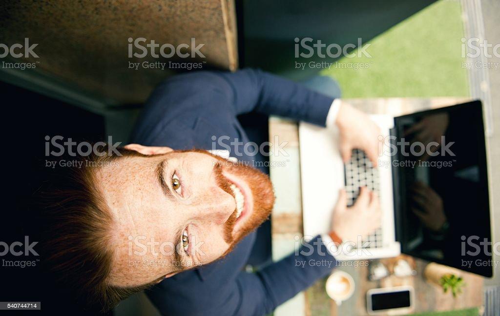 Happy businessman. stock photo