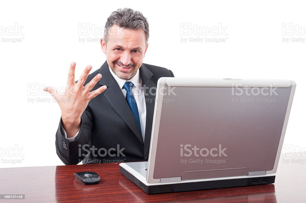 Happy businessman showing five fingers stock photo