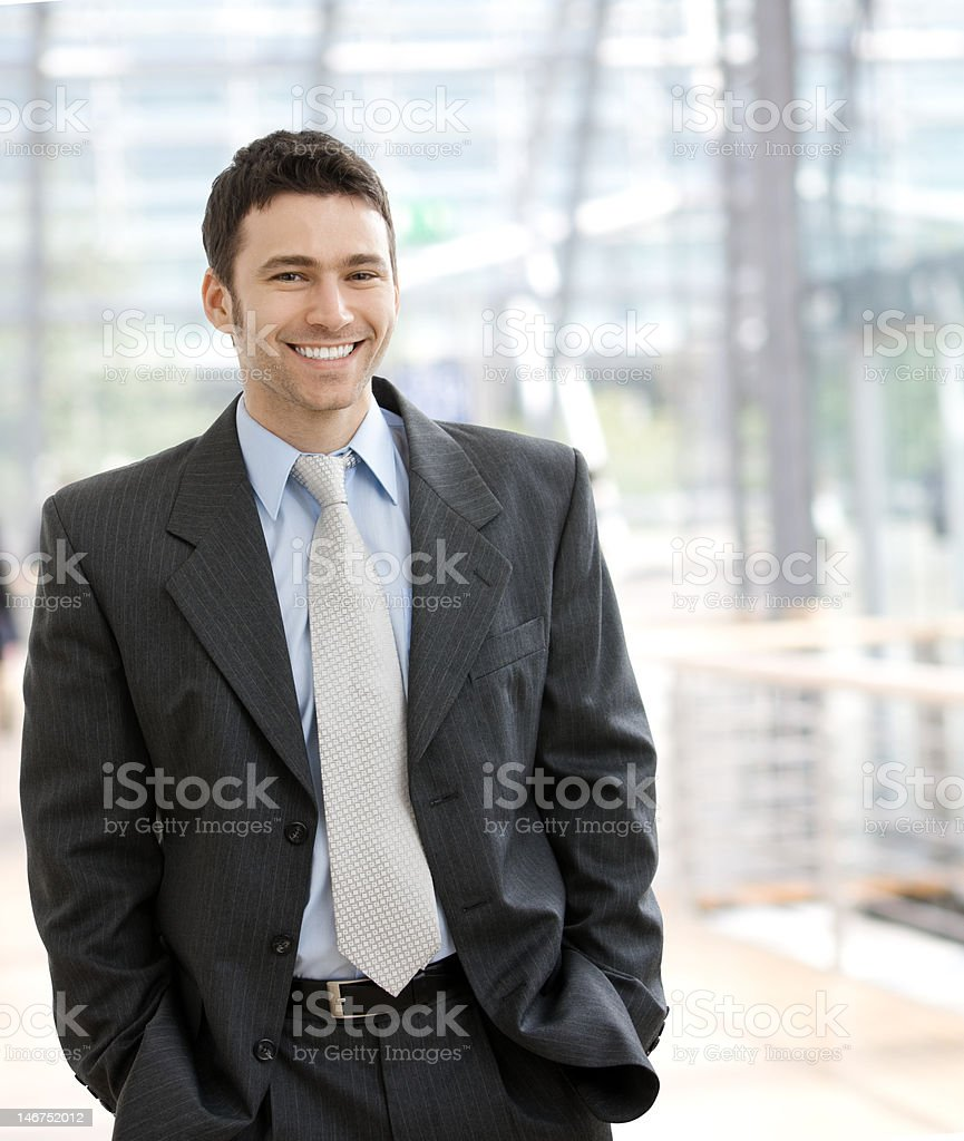 Happy businessman smiling royalty-free stock photo