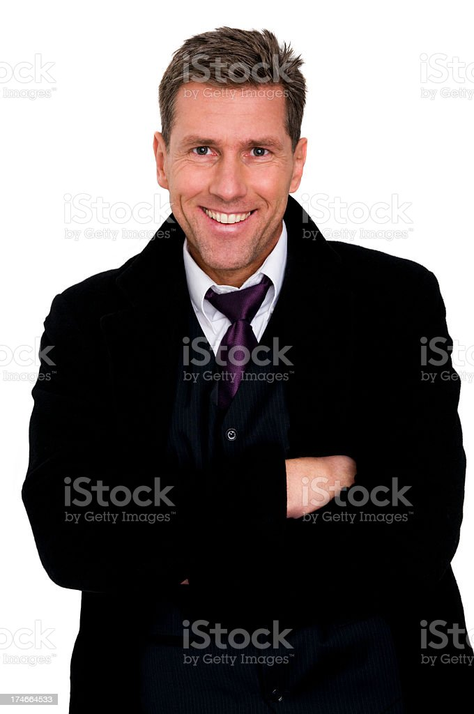 happy businessman with arms crossed royalty-free stock photo