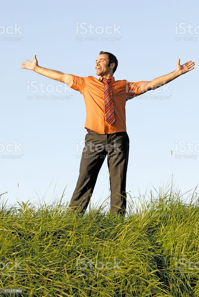 happy businessman with arms wide open royalty-free stock photo
