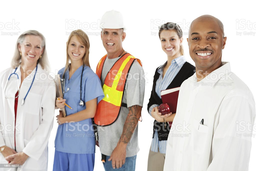 Happy Businessman With Cheerful Professionals Behind Him, Isolated on White royalty-free stock photo