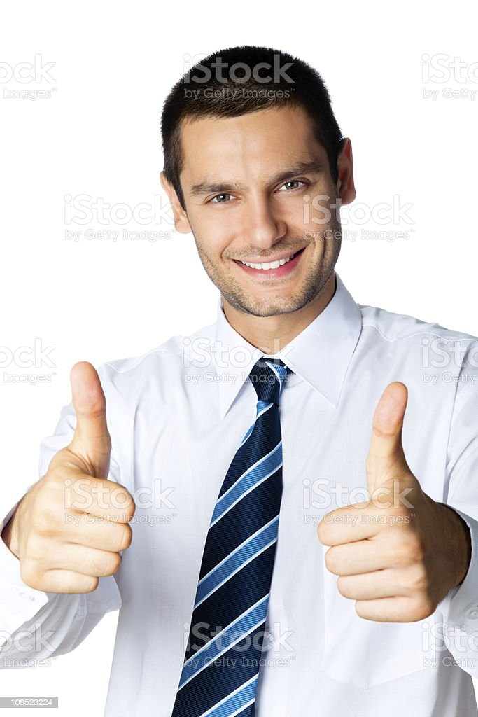 Happy businessman with thumbs up gesture, isolated on white royalty-free stock photo