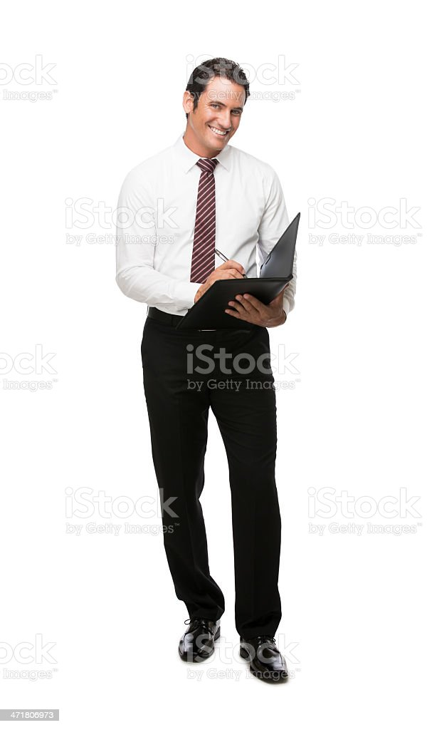 Happy businessman working royalty-free stock photo