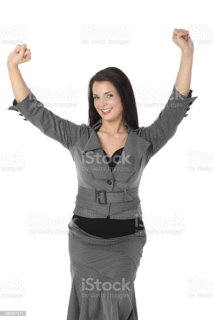 Happy businesswoman arms raised dance moves stock photo