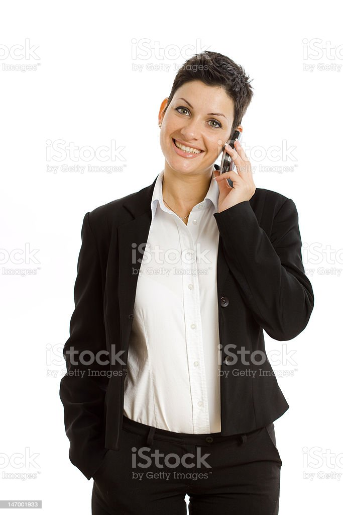 Happy businesswoman calling isolated royalty-free stock photo
