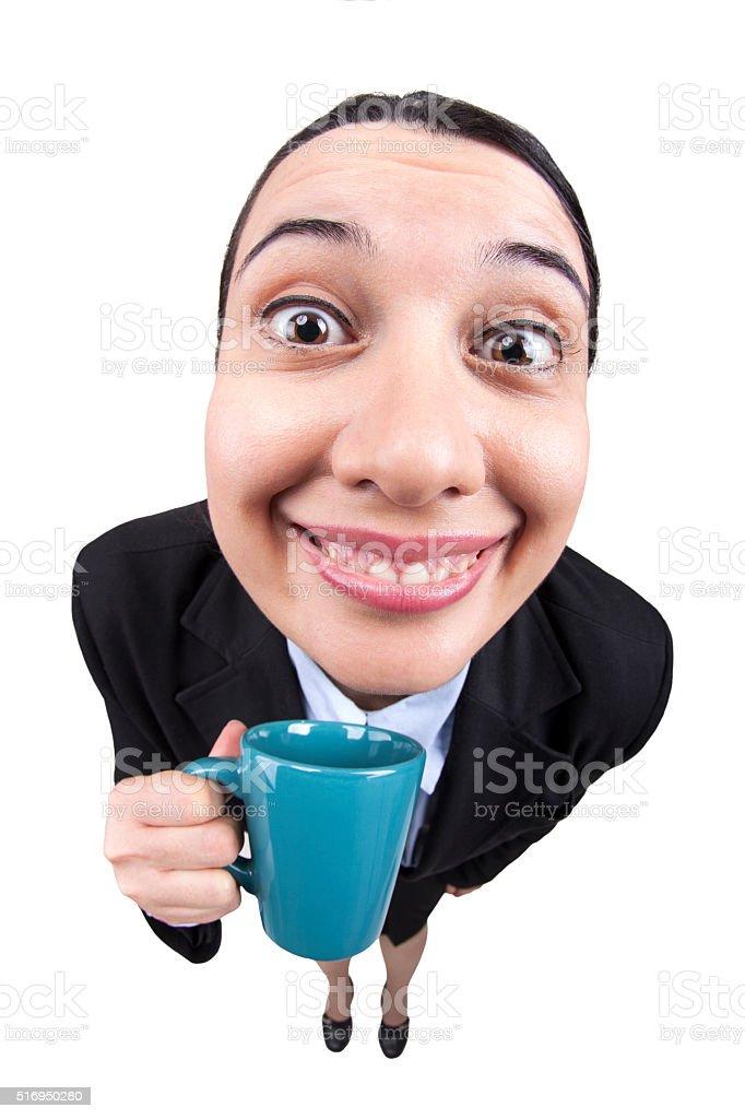 Happy Businesswoman Drinking Coffee stock photo