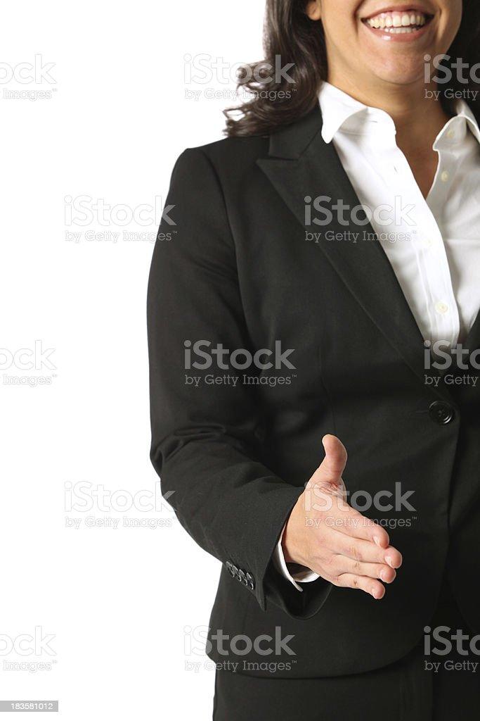 Happy businesswoman handshake royalty-free stock photo