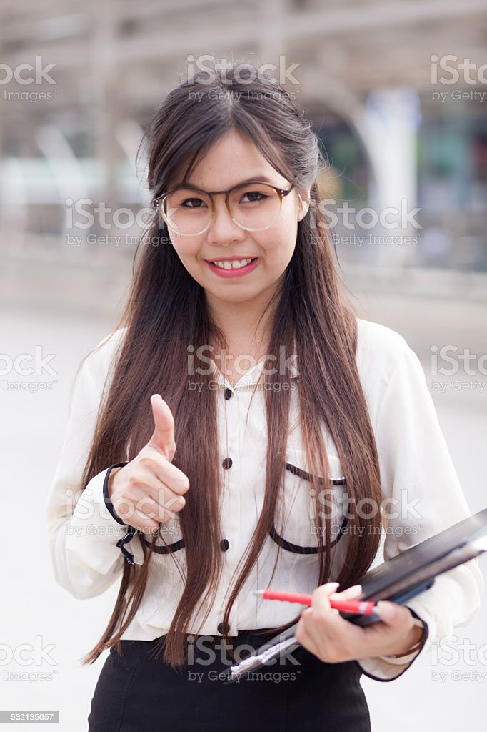 Happy businesswoman hold document file and paper. stock photo