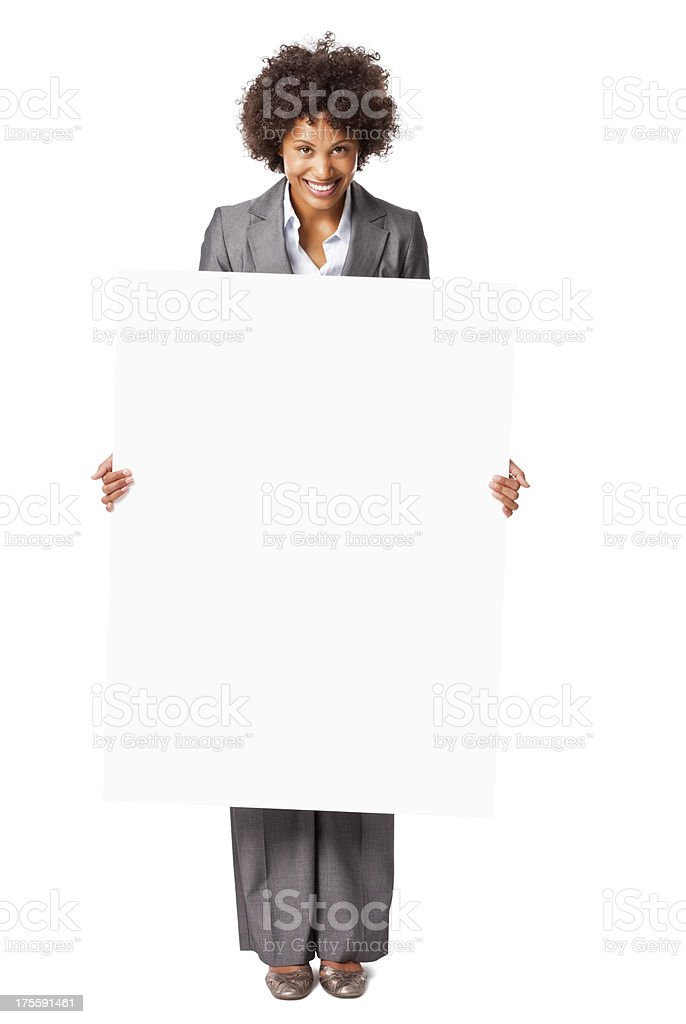 Happy Businesswoman Holding Blank Sign - Isolated royalty-free stock photo