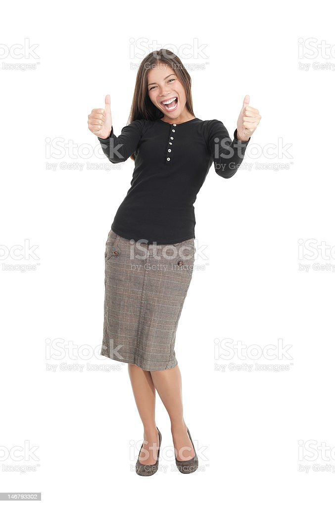 Happy businesswoman isolated giving thumbs up royalty-free stock photo