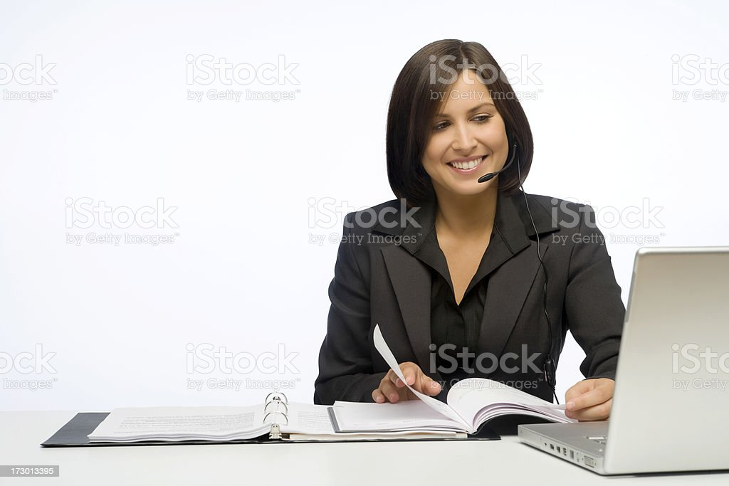 Happy Businesswoman On A White Background royalty-free stock photo