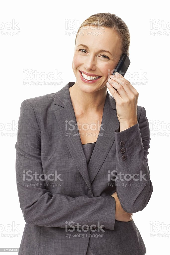 Happy Businesswoman On Cellphone - Isolated royalty-free stock photo
