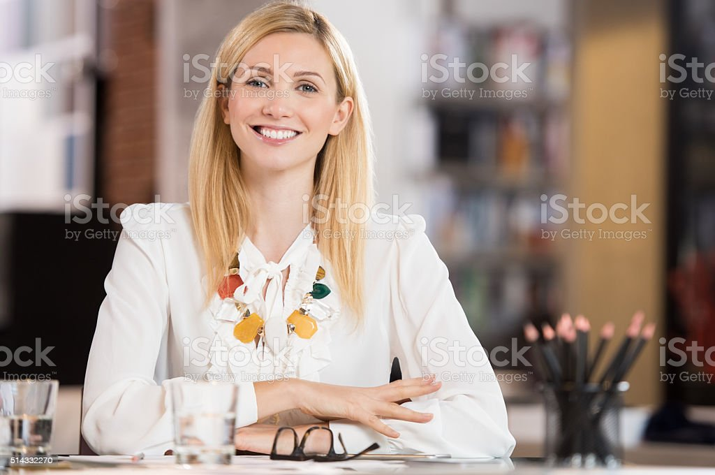 Happy businesswoman stock photo