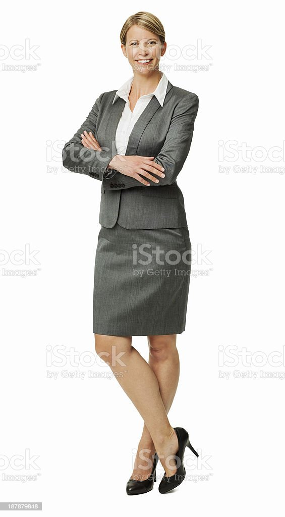 Happy Businesswoman Standing Arms Crossed royalty-free stock photo