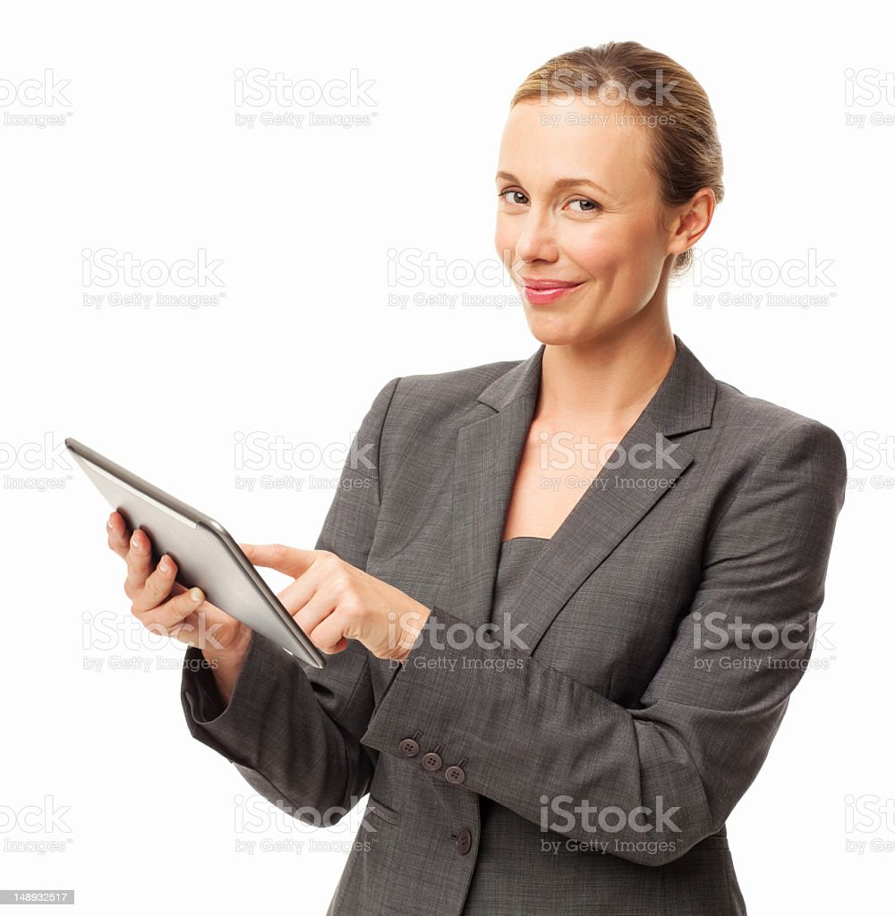 Happy Businesswoman Using Digital Tablet - Isolated royalty-free stock photo
