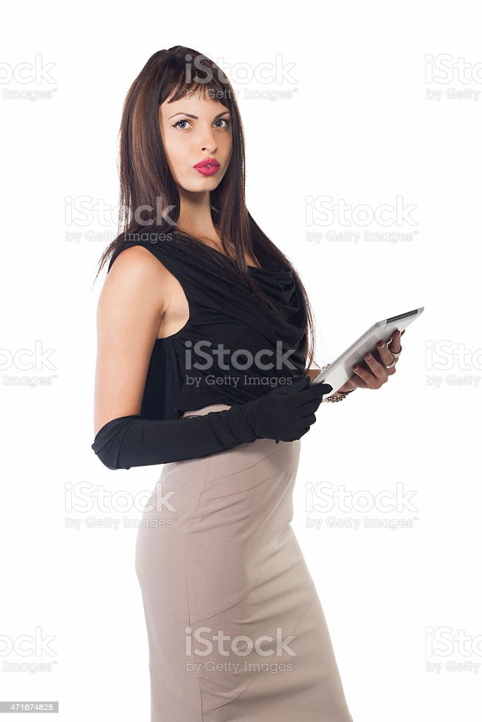 Happy Businesswoman Using Digital Tablet - Isolated stock photo