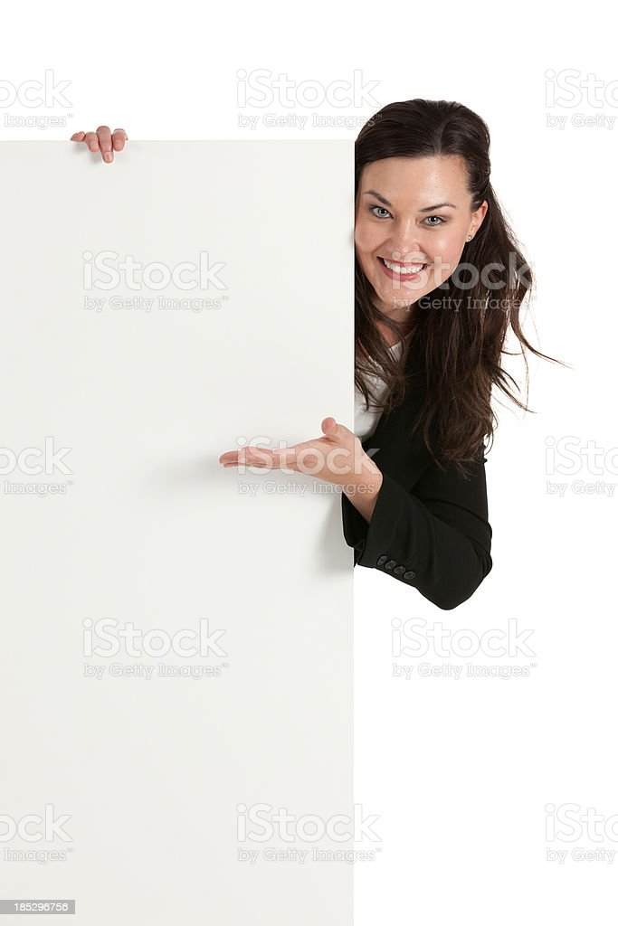 Happy businesswoman with a placard royalty-free stock photo