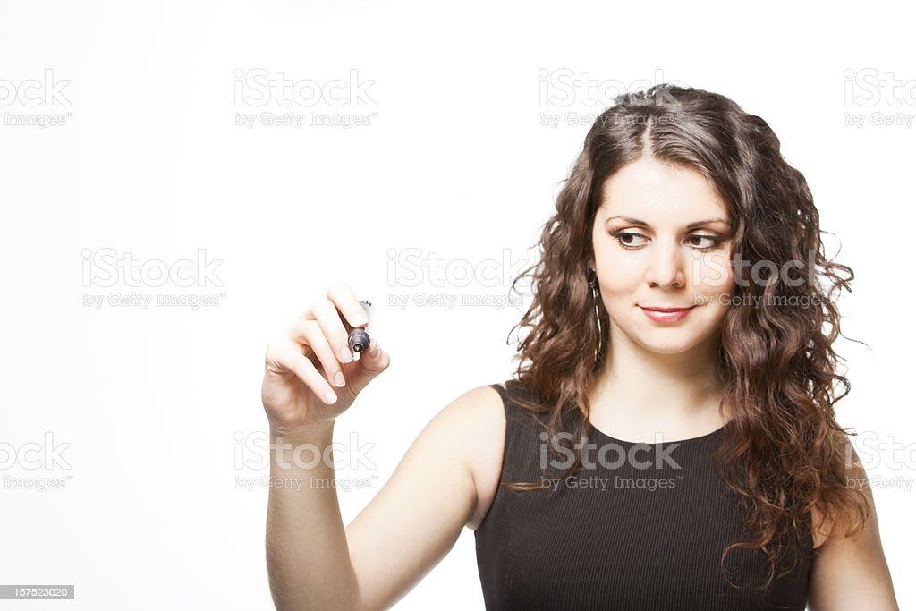 Happy businesswoman with black marker royalty-free stock photo