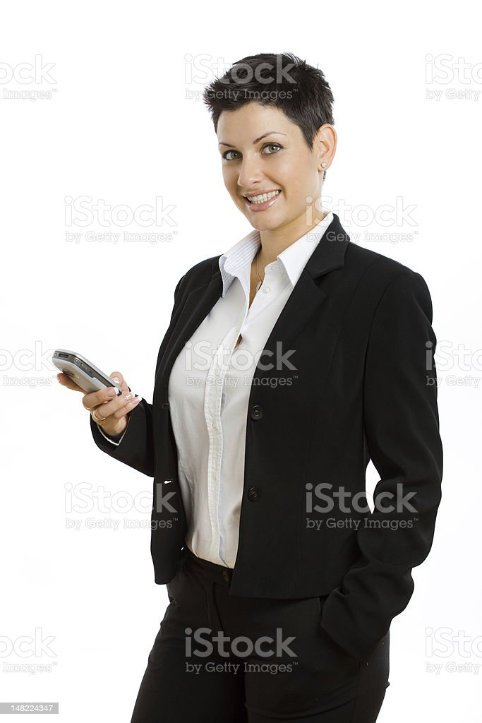 Happy businesswoman with cellphone isolated royalty-free stock photo