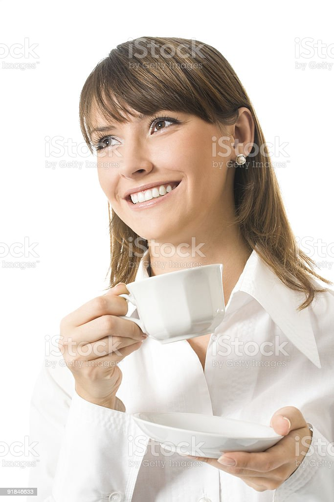Happy businesswoman with cup of coffee, isolated on white royalty-free stock photo