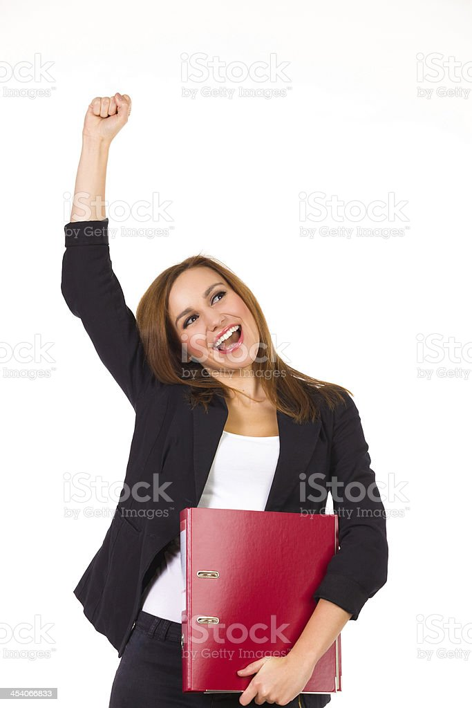 Happy businesswoman with ring binder. stock photo