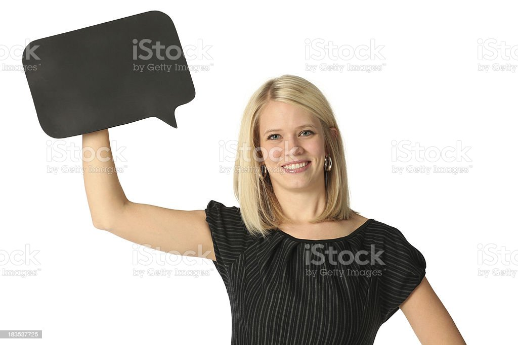 Happy businesswoman with speech bubble royalty-free stock photo