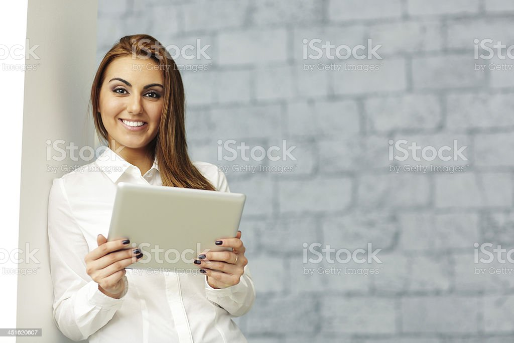 happy businesswoman with tablet computer stock photo