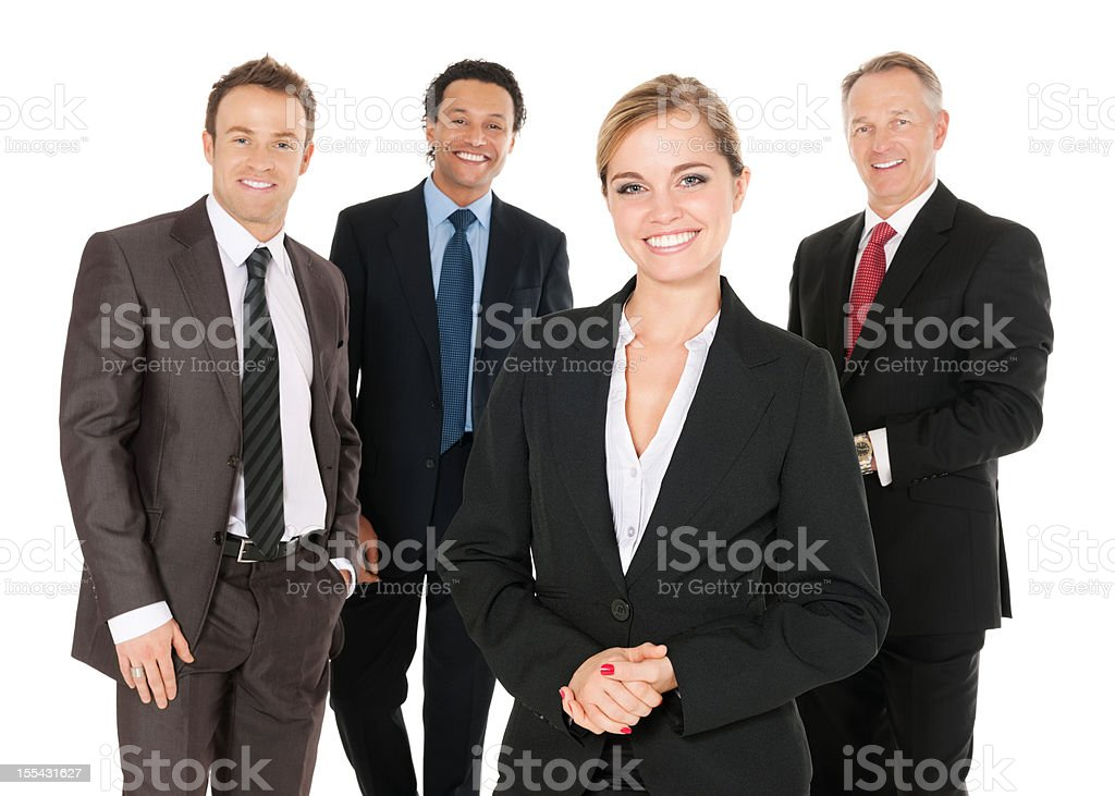 Happy Businesswoman With Team stock photo