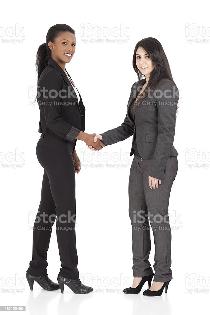Happy businesswomen closing a deal by shaking hands stock photo