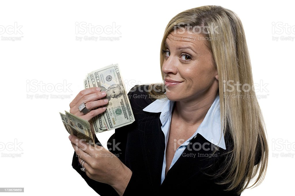 Happy businesswomen holding money stock photo