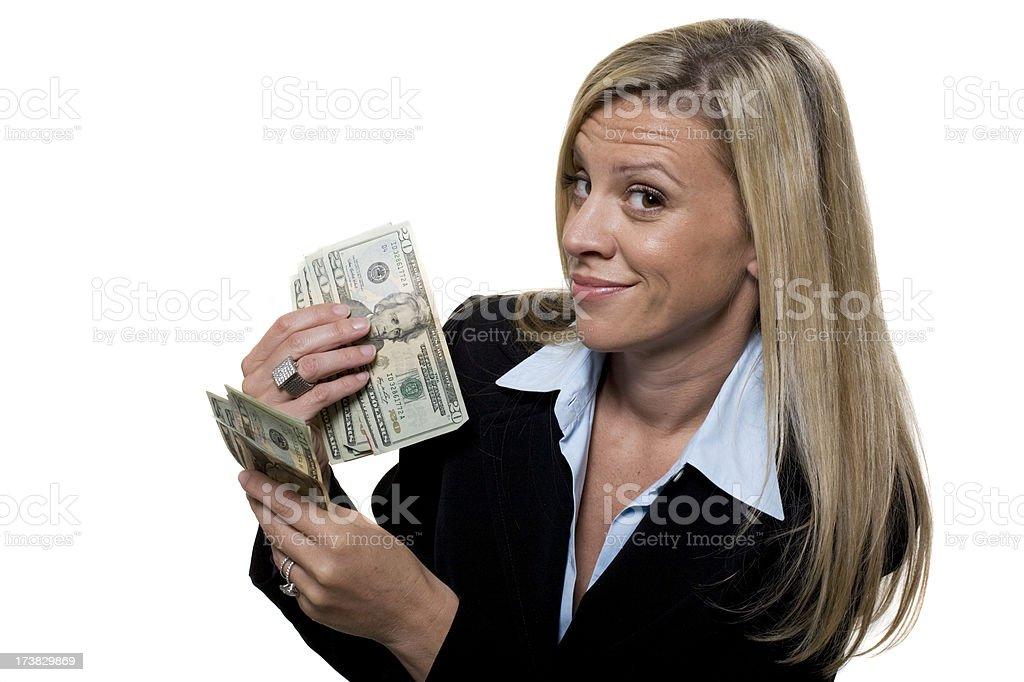 Happy businesswomen holding money stock photo